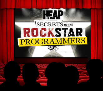 Image of movie theater with audience looking at rockstar book cover